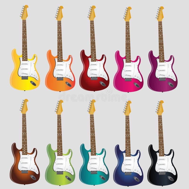 Guitarra elétricas da música para a música do rolo da rocha n ilustração royalty free