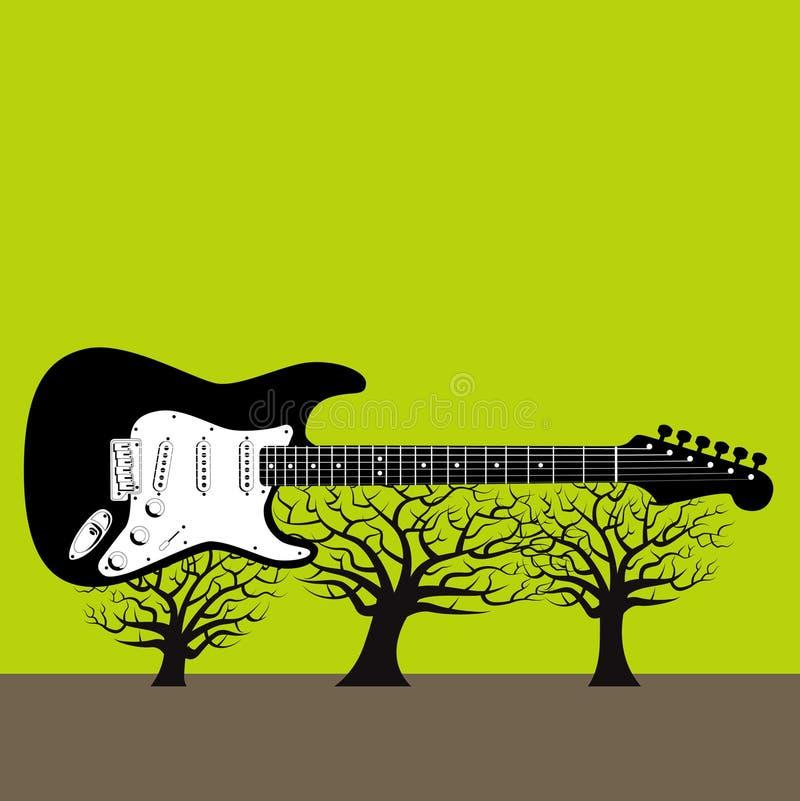 Guitarra em árvores ilustração stock