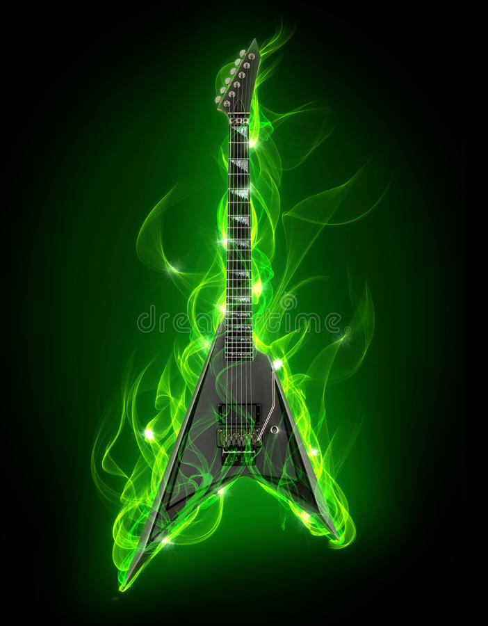 Guitarra en fuego libre illustration