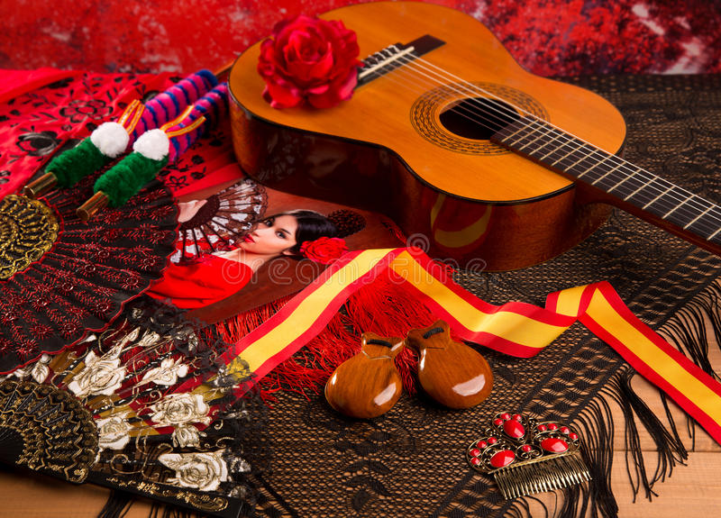 Guitarra espanhola de Cassic com elementos do flamenco foto de stock royalty free