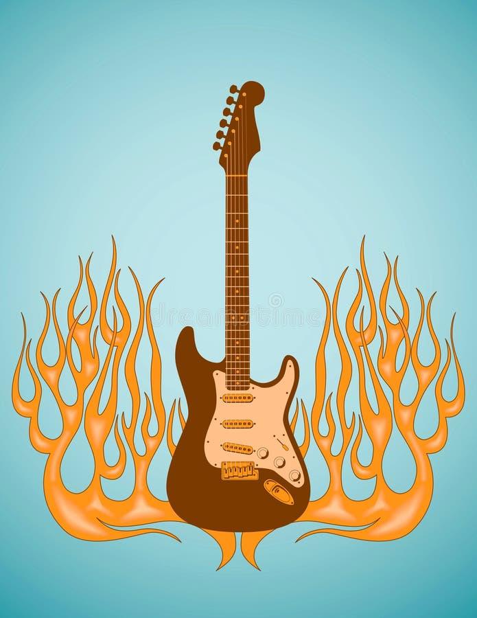 Guitarra flamejante ilustração royalty free