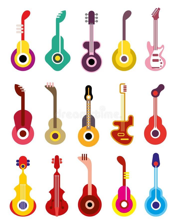 Guitarra - grupo do ícone do vetor ilustração stock