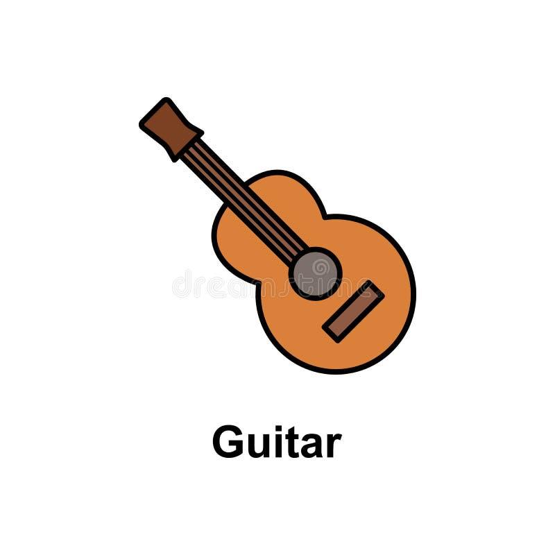 Guitarra, icono del instrumento Elemento del icono del color de Cinco de Mayo Icono superior del diseño gráfico de la calidad mue ilustración del vector