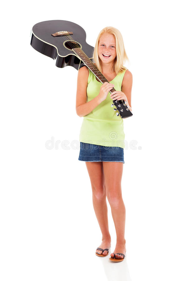 Guitarra levando do Preteen fotos de stock royalty free