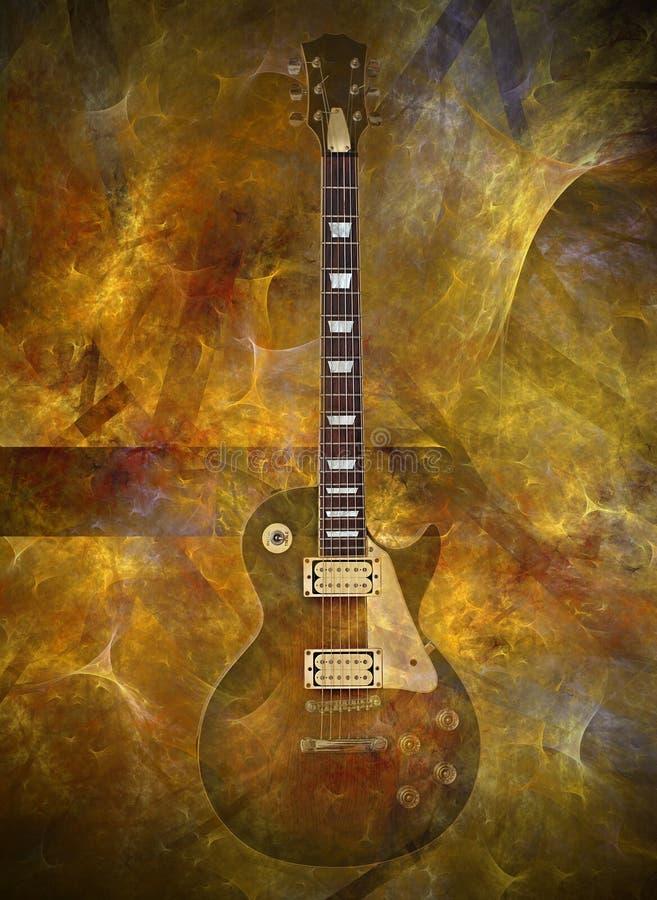 Guitarra llameante stock de ilustración