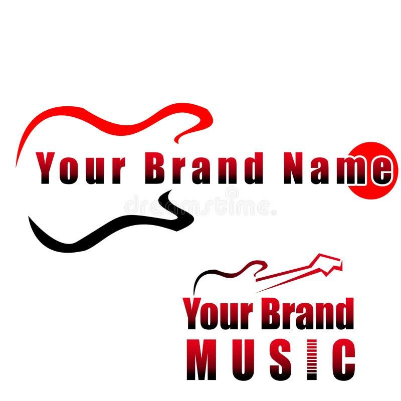 Guitarra - logotipo compay da música, ilustração do vetor