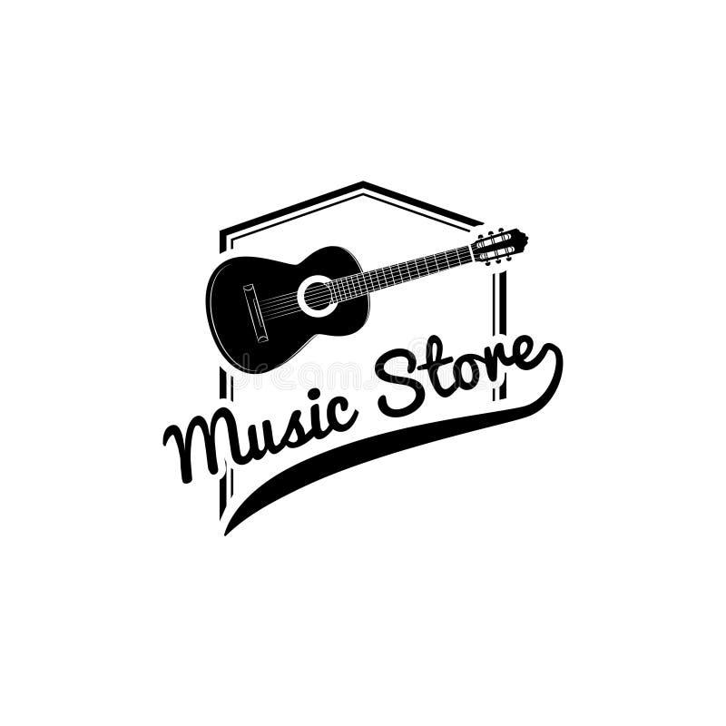 Guitarra, logotipo de la tienda de la música Instrumento musical emblema, icono, muestra Vector stock de ilustración