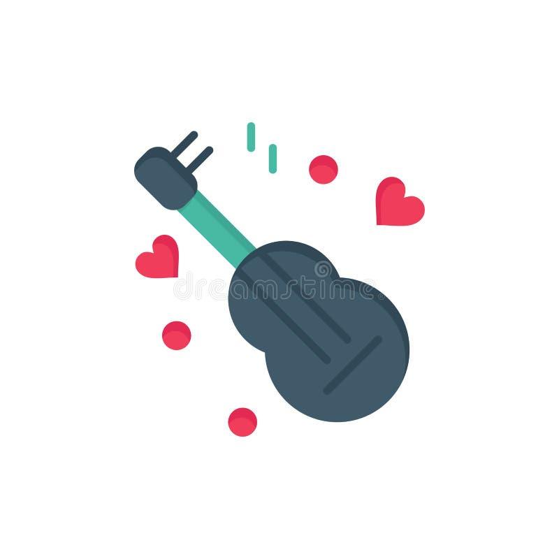 Guitarra, música, música, ícone liso da cor do amor Molde da bandeira do ícone do vetor ilustração do vetor