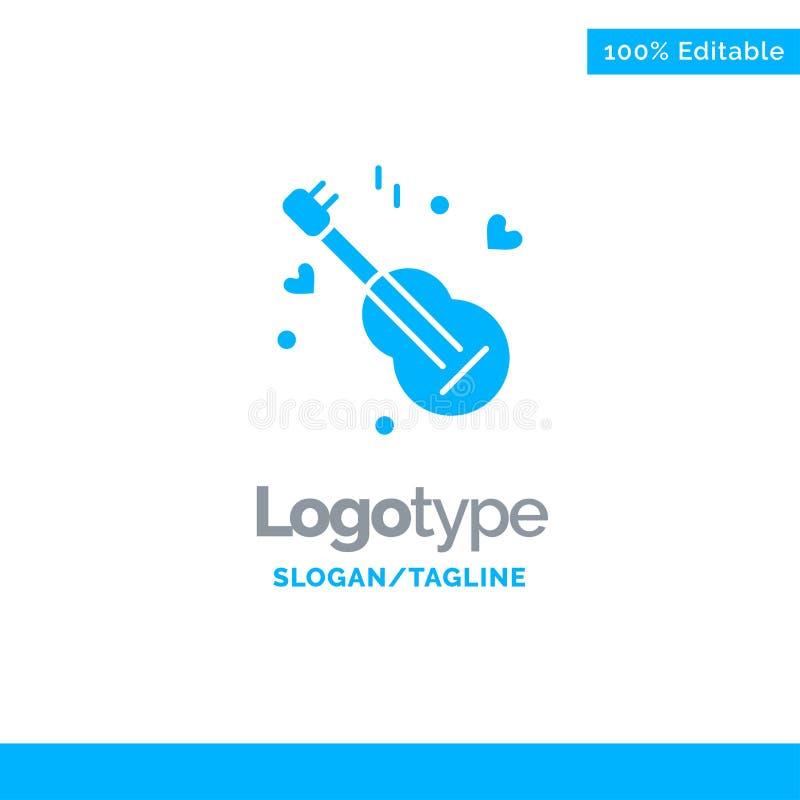 Guitarra, música, música, amor Logo Template contínuo azul Lugar para o Tagline ilustração do vetor