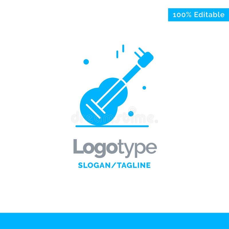 Guitarra, música, EUA, Logo Template contínuo azul americano Lugar para o Tagline ilustração do vetor