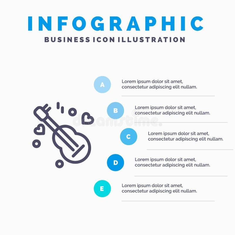Guitarra, música, música, linha de amor ícone com fundo do infographics da apresentação de 5 etapas ilustração stock