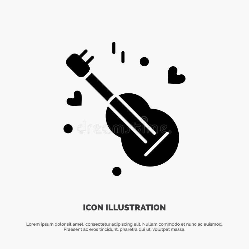 Guitarra, música, música, vetor contínuo do ícone do Glyph do amor ilustração stock