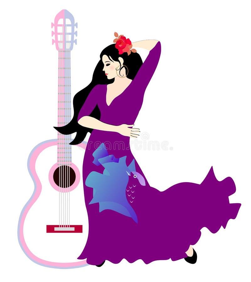 Guitarra, menina e pássaro Jovem mulher espanhola bonita com o cabelo preto longo, decorado com uma rosa, vestida em um vestido l ilustração royalty free