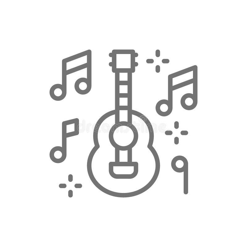 Guitarra mexicana, música, línea icono del mariachi stock de ilustración