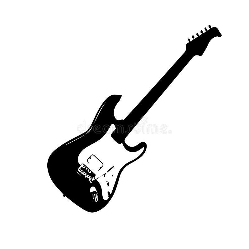 Guitarra negra Guitarra baja en el fondo blanco stock de ilustración