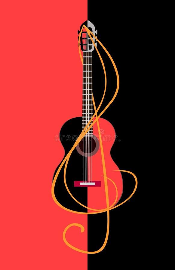 Guitarra negra y roja entrelazada con una clave de sol en un fondo bicolor Insignia musical ilustración del vector