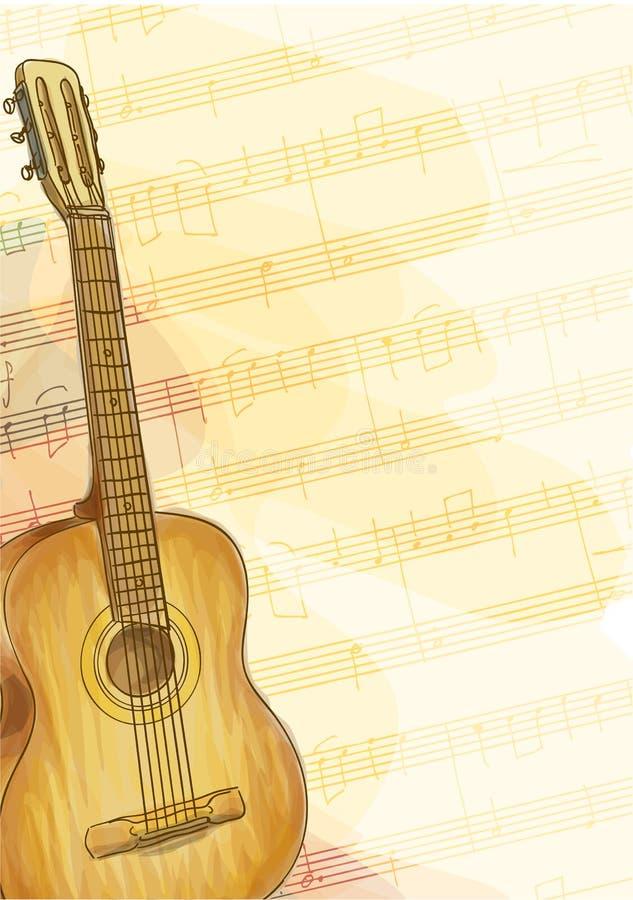 Guitarra no fundo da música. Estilo da aguarela. ilustração do vetor