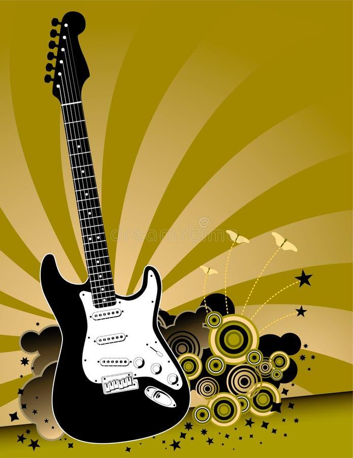 Guitarra no fundo do grunge ilustração stock