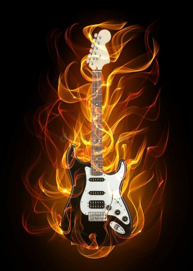 Guitarra no incêndio ilustração do vetor
