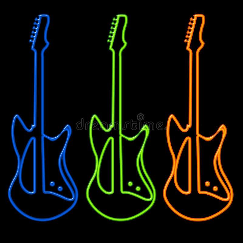 Guitarra no néon ilustração do vetor