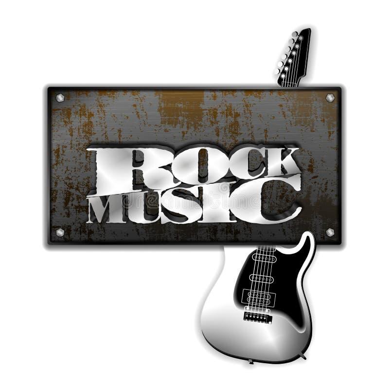 Guitarra oxidada da música rock do ferro de folha do metal ilustração do vetor
