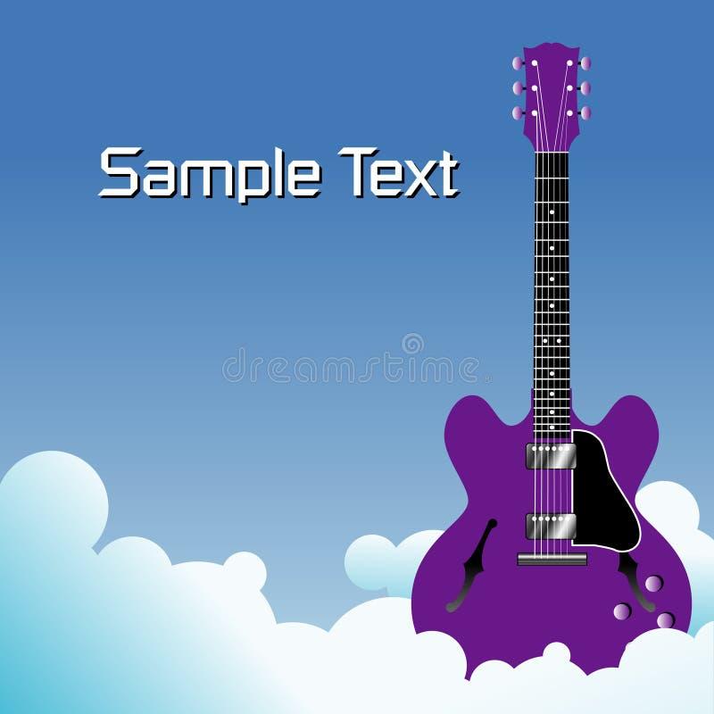 Guitarra púrpura en las nubes ilustración del vector