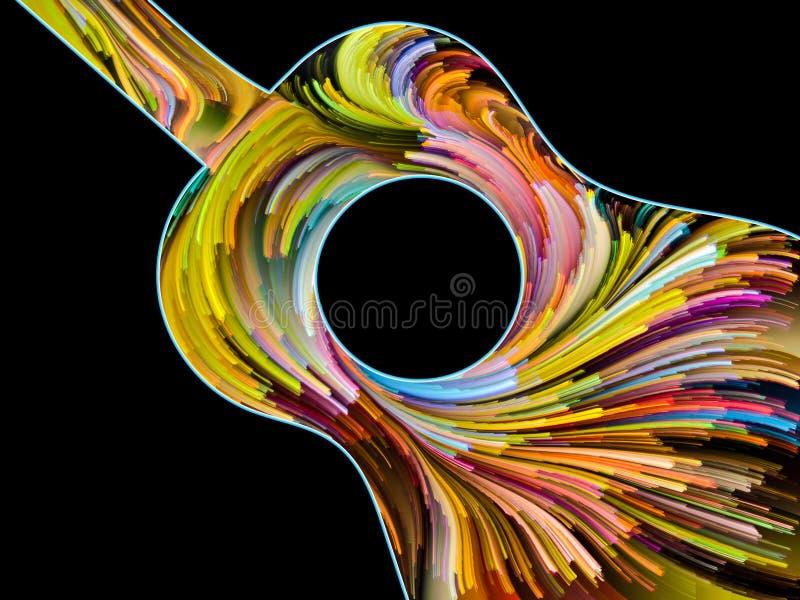 Guitarra pintada remolino stock de ilustración