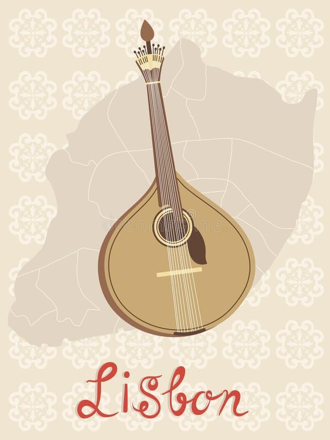 Guitarra portuguesa do fado de Tipical sobre o mapa de Lisboa e ilustração royalty free
