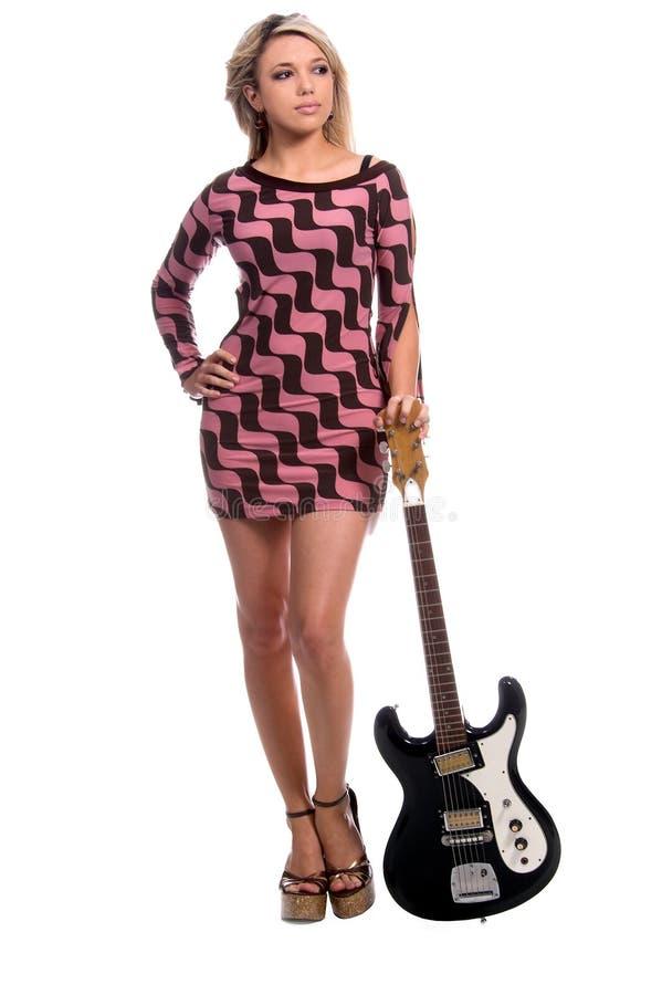 Guitarra retra atractiva imagen de archivo libre de regalías