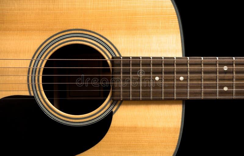 Guitarra-secuencias acústicas, cuello, cojín protector, agujero del resonador imágenes de archivo libres de regalías