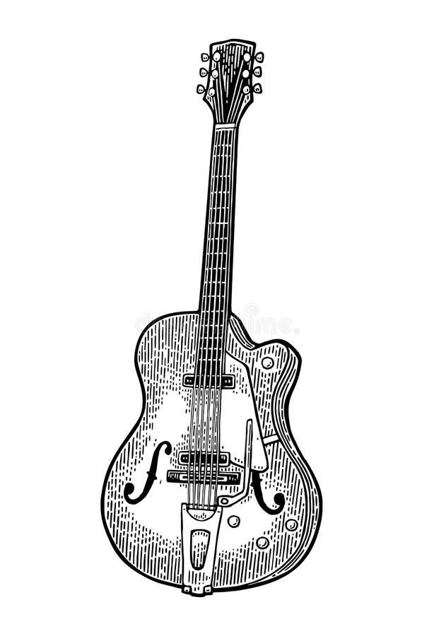 Guitarra semi acústica Ilustração da gravura do preto do vetor do vintage ilustração do vetor