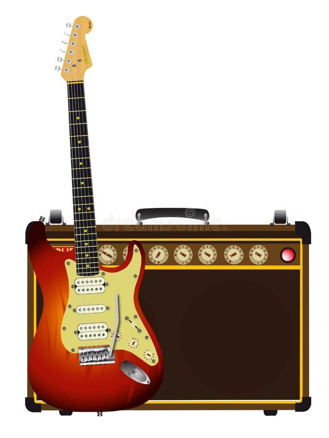 Guitarra típica y Aplifier aislados en blanco stock de ilustración
