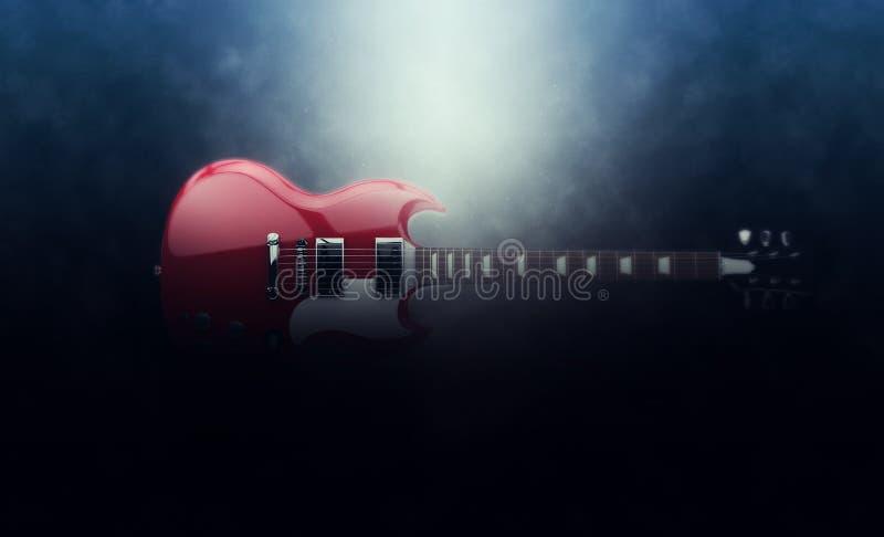Guitarra vermelha épico do hard rock ilustração royalty free