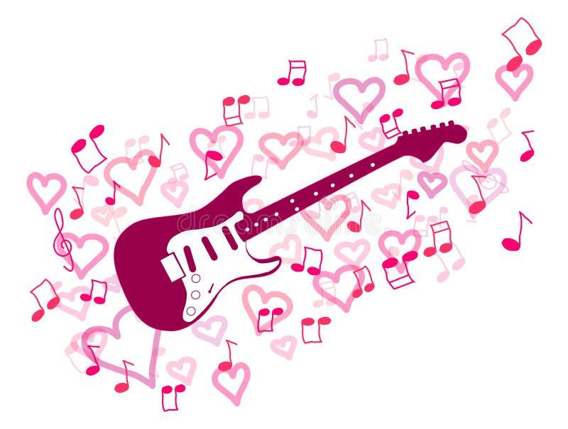 Guitarra y corazón stock de ilustración