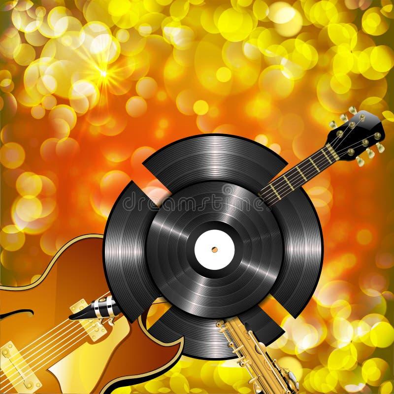 Guitarra y discos de vinilo del saxofón del jazz ilustración del vector