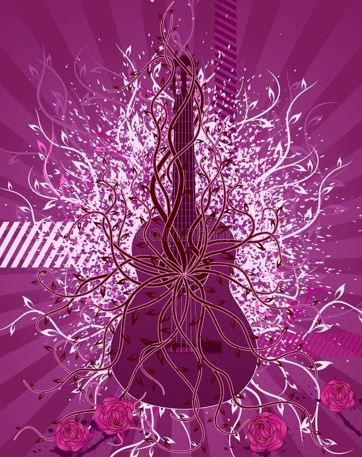 Guitarra y rosas. stock de ilustración