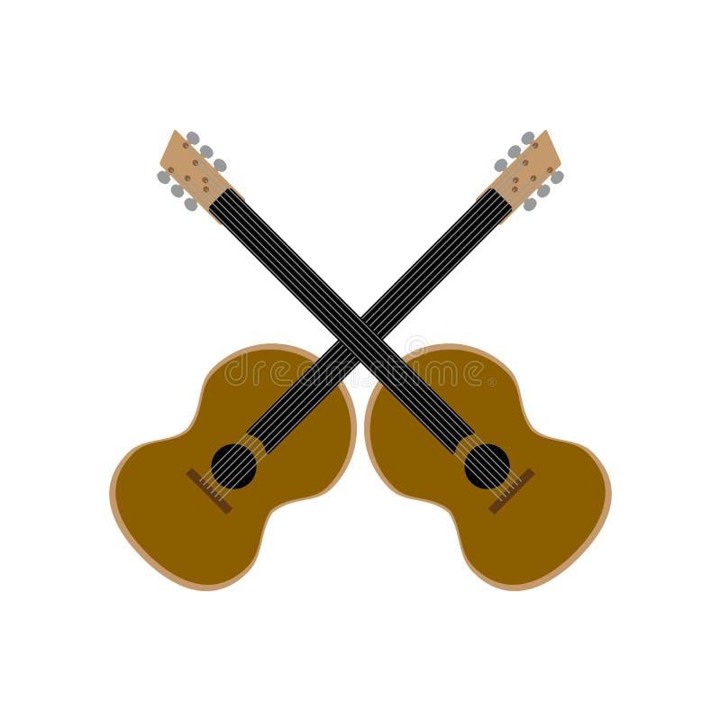 Guitarras ac?sticas entrecruzadas aisladas en el fondo blanco Ilustraci?n del vector stock de ilustración