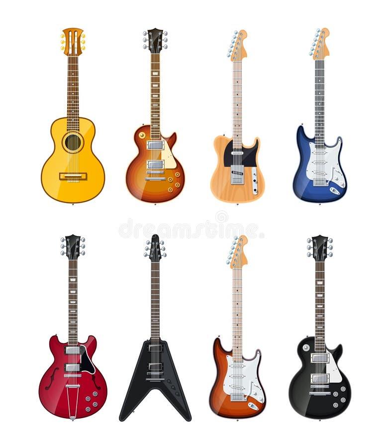 Guitarras acústicas y eléctricas ilustración del vector