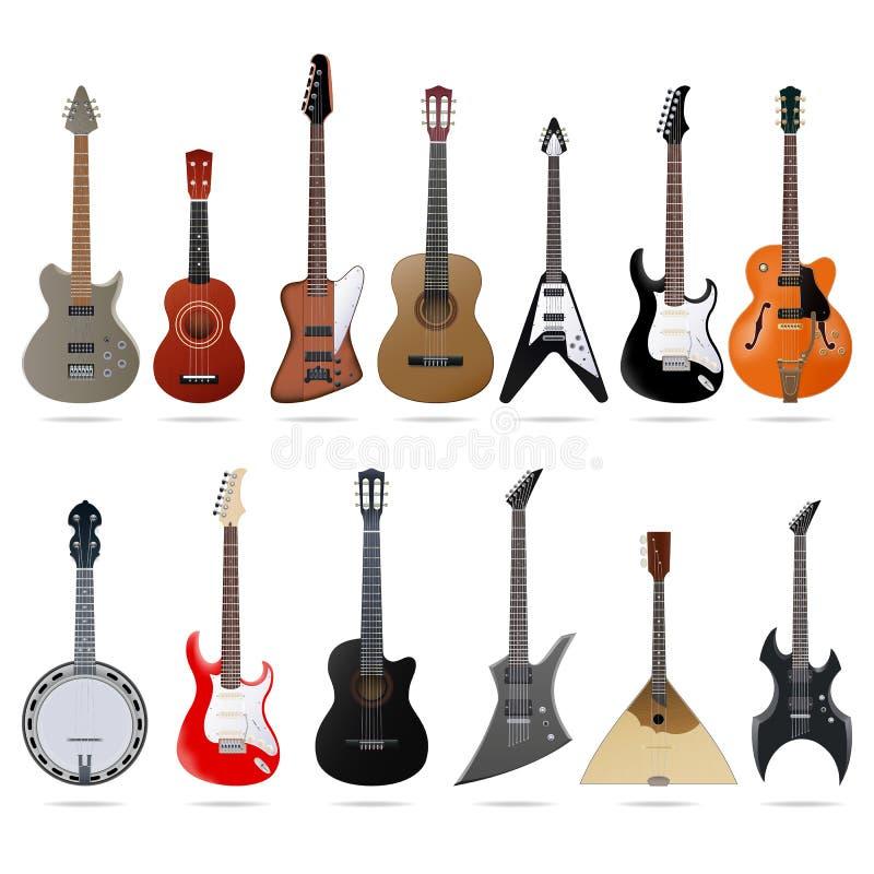Guitarras acústicas y eléctricas fijadas stock de ilustración