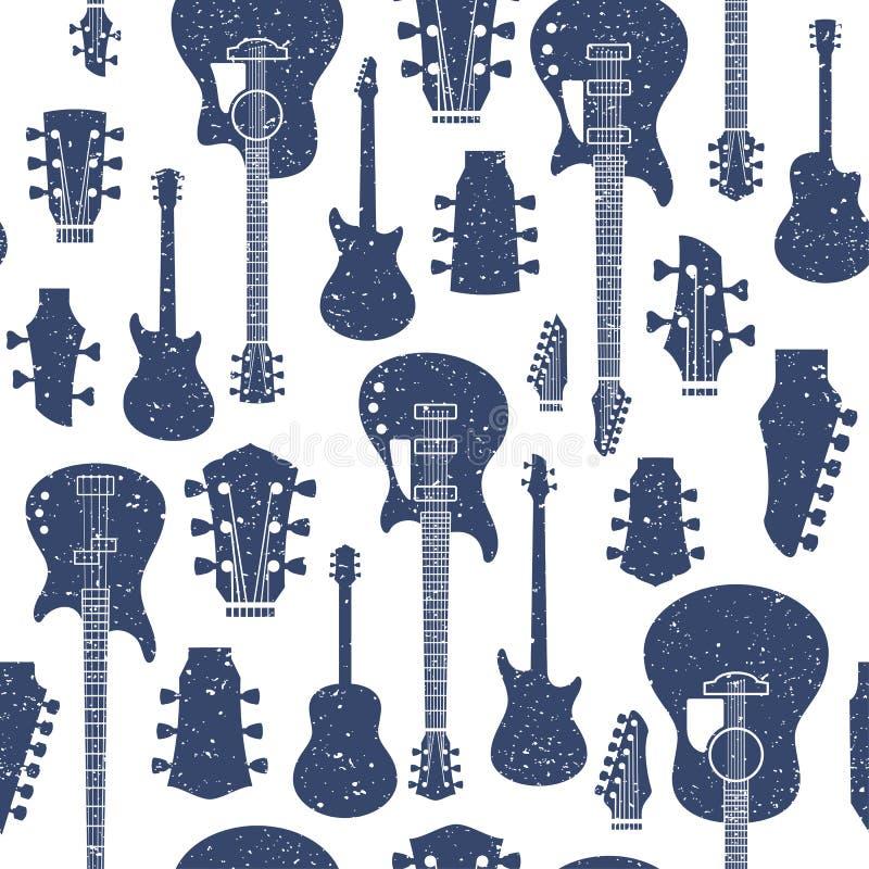 Guitarras diseñadas retras modelo o fondo inconsútil del vector libre illustration