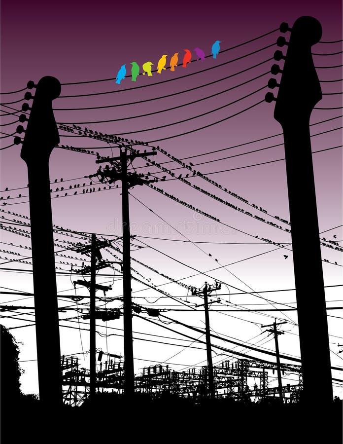 Guitarras y alambres con los pájaros libre illustration