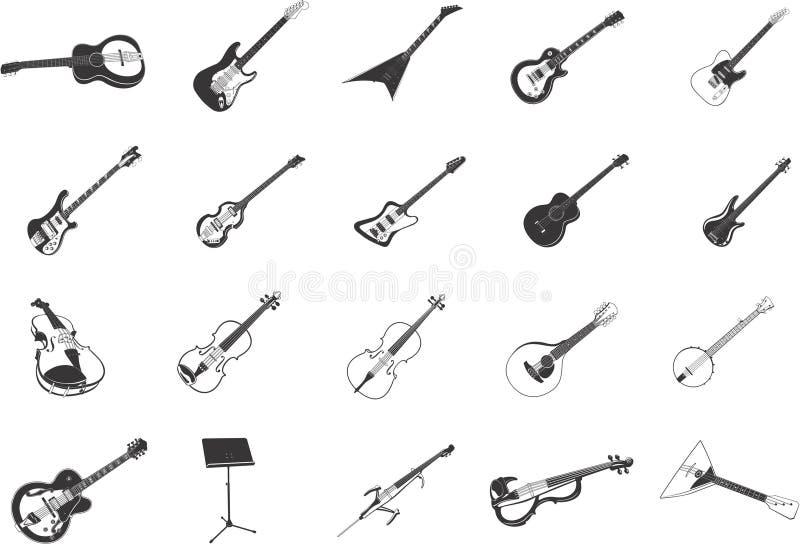 Guitarras y instrumentos musicales ilustración del vector