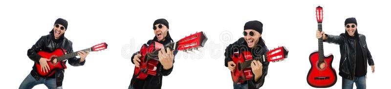 Guitarrista aislado en el blanco foto de archivo