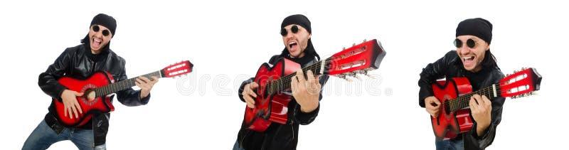 Guitarrista aislado en el blanco imagen de archivo libre de regalías