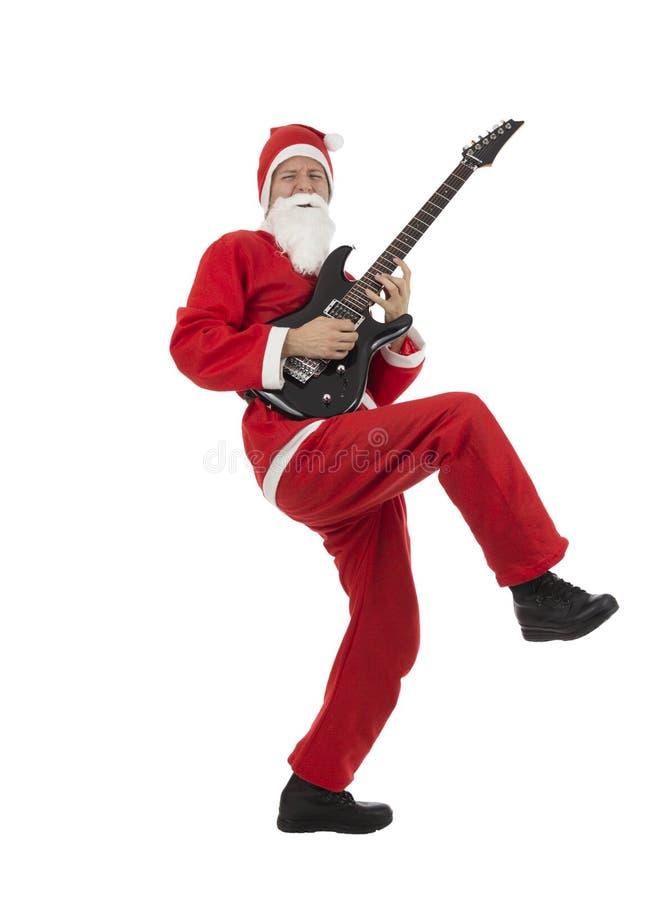 Guitarrista bonde engraçado de Santa Claus foto de stock