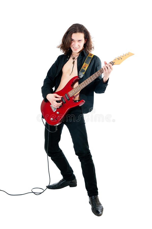 Guitarrista com guitarra vermelha imagem de stock royalty free