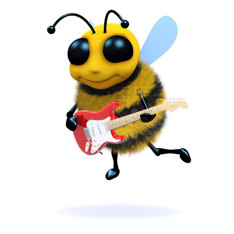 guitarrista da abelha 3d ilustração royalty free