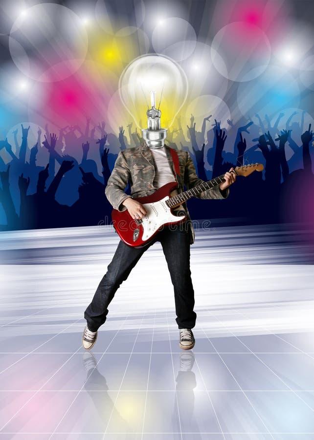 Guitarrista da lâmpada e dance party principais Flayer ilustração royalty free