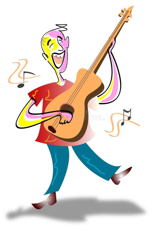 Guitarrista de canto ilustração do vetor