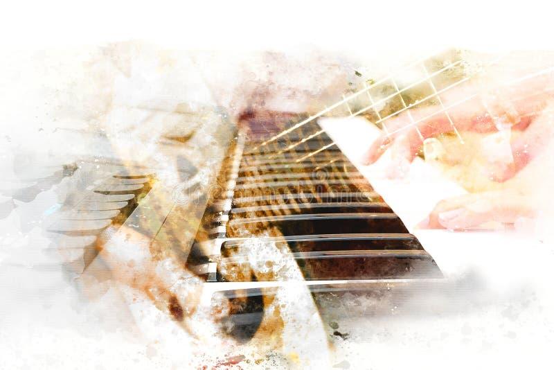 Guitarrista de jogo bonito no primeiro plano, fundo de pintura do sumário da aquarela ilustração royalty free